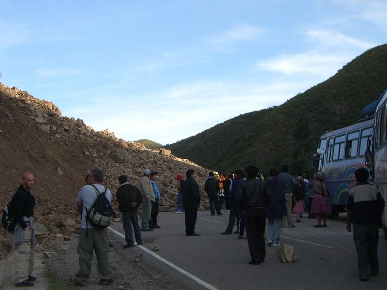 Bolivia bus travel landslide