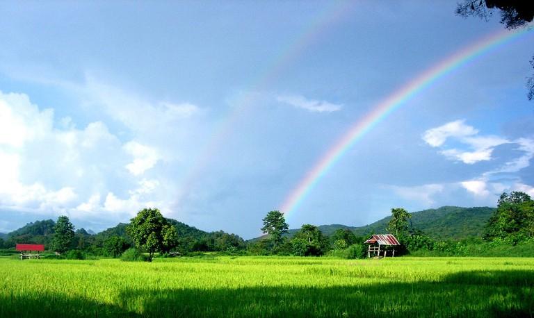 Rainbow over farm