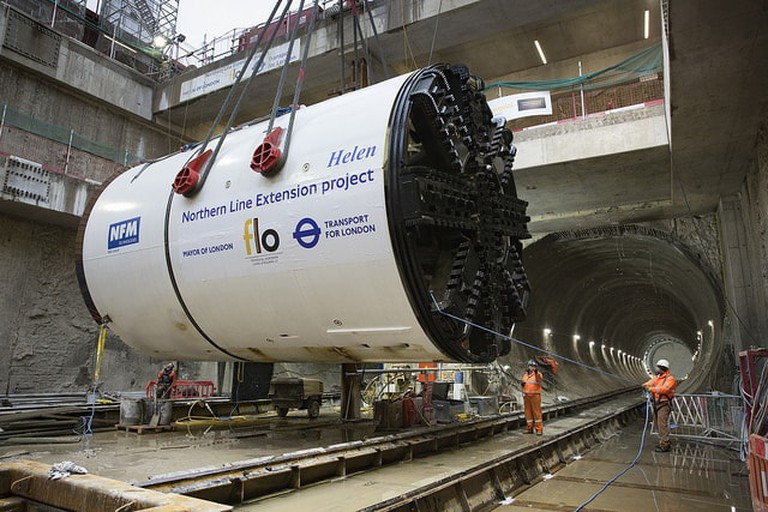 The machines used to bore the Northern Line Extension tunnels, which led to the sinking (Transport for London ©)