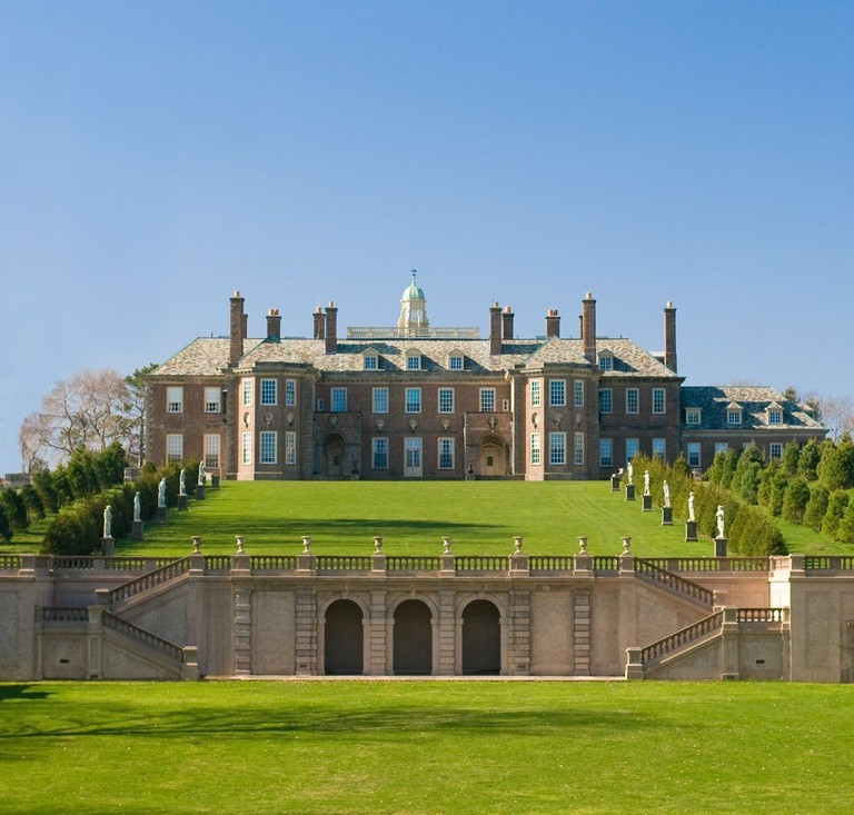 The Great House and restored Grand Allee atop Castle Hill on the Crane Estate.