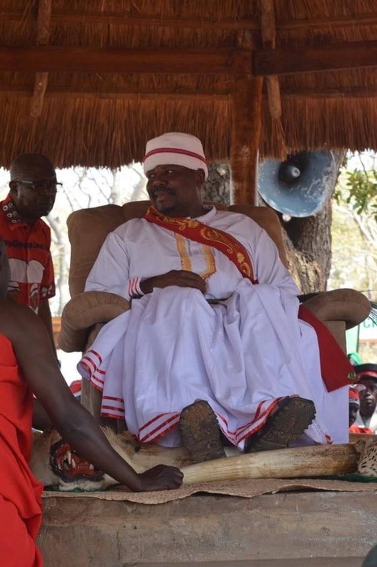 Chewa chief Kalonga Gawa Undi sits on kasusu during the kulamba ceremony-pic by Lisa Vintulla
