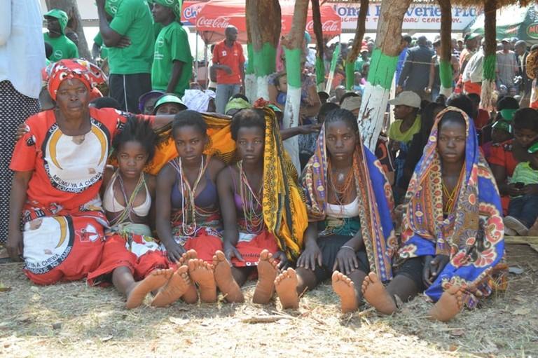 Girls presenting their chewa culture at kulamba ceremony-pic by Lisa Vintulla