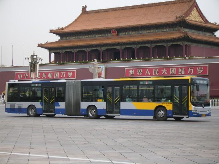 Huanghai_Bus_in_Beijing_Bus_Route_1