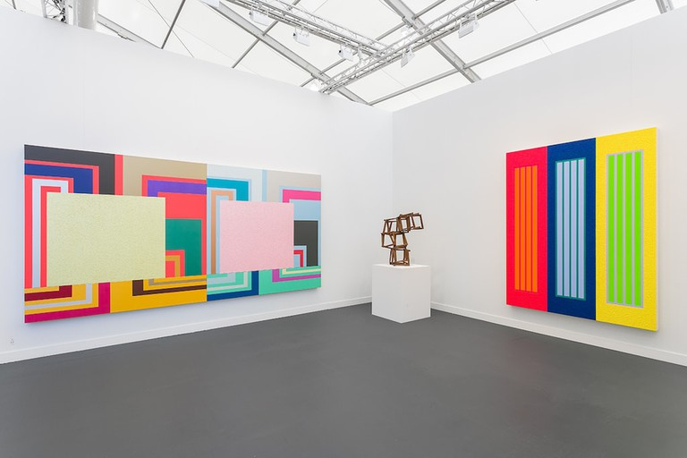 Installation view of Peter Halley at Waddington Custot, Frieze 2018.
