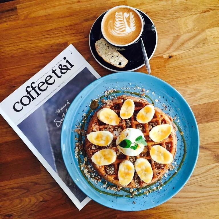 My Liberica Coffee waffle and latte