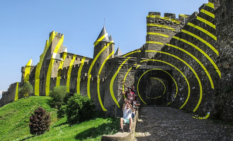 Medieval castle of Carcassonne with yellow concentric circles, France