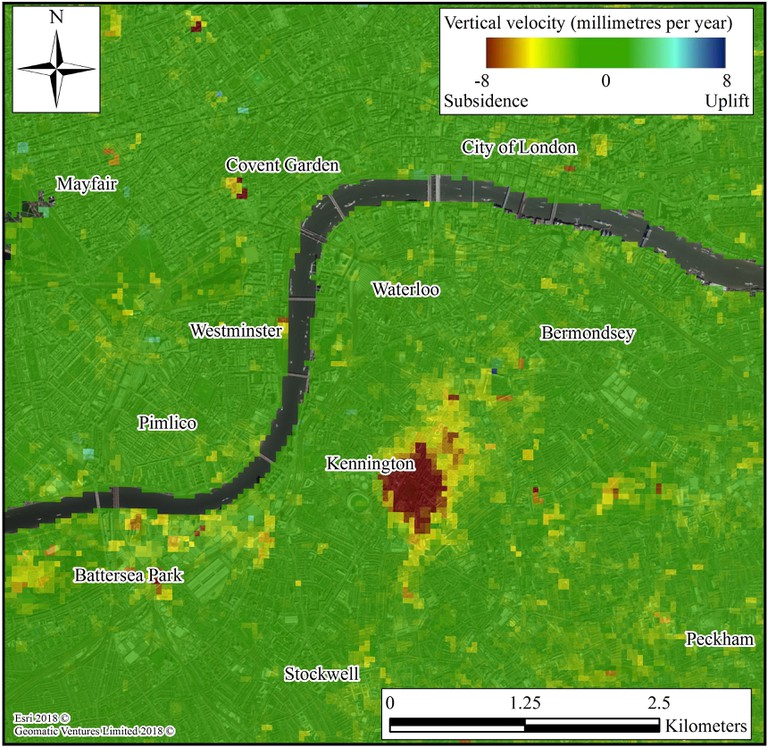 Satellite imagery shows the district of Kennington sinking