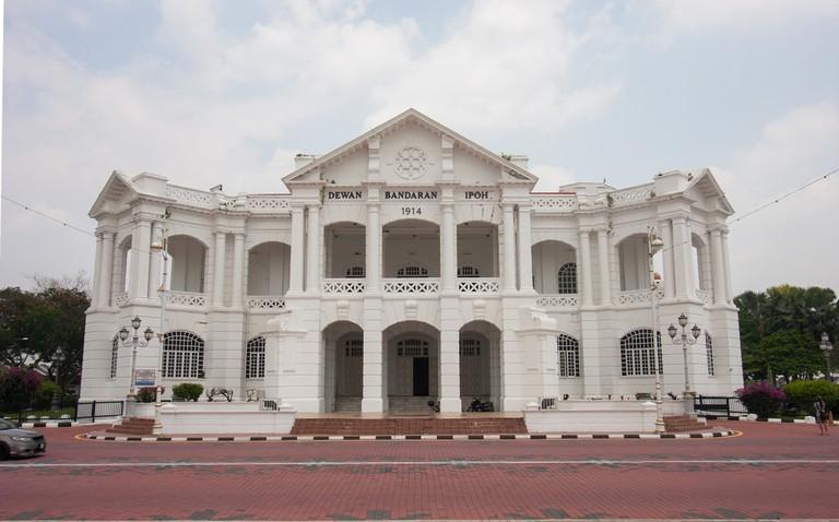 The City Hall building of IPOH/War Memorial Monument at Ipoh, Perak, Malaysia
