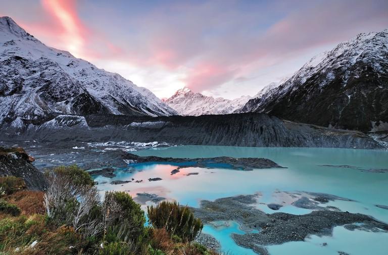 Mueller Glacier Aoraki Mt Cook National Par, South Island, New Zealand