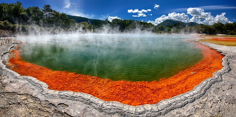 Panoramic view of thermal lake Champagne Pool at Wai-O-Tapu near Rotorua, New Zealand
