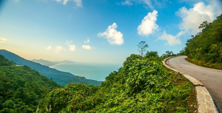Hai Van pass. The famous road which leads along the coastline mountains near Da Nang city, Vietnam