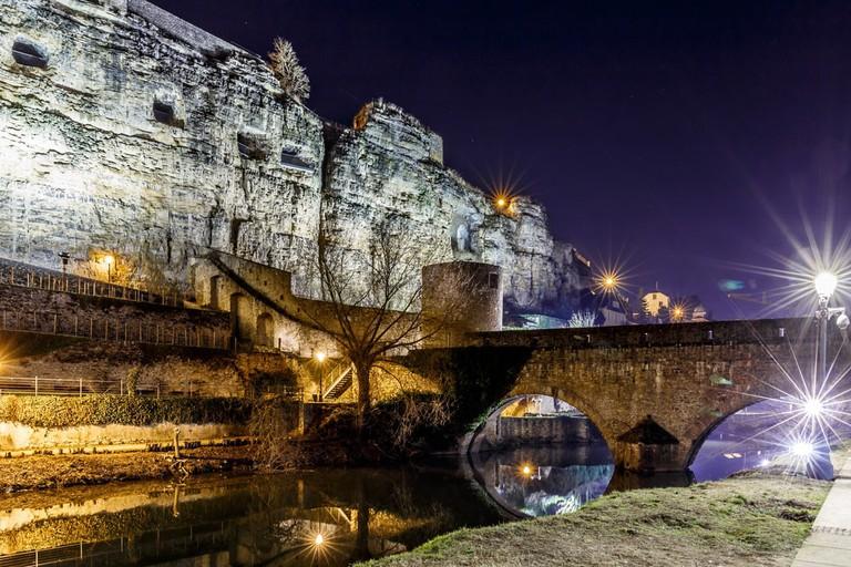 Casemates du Bock and stone bridge in Luxembourg