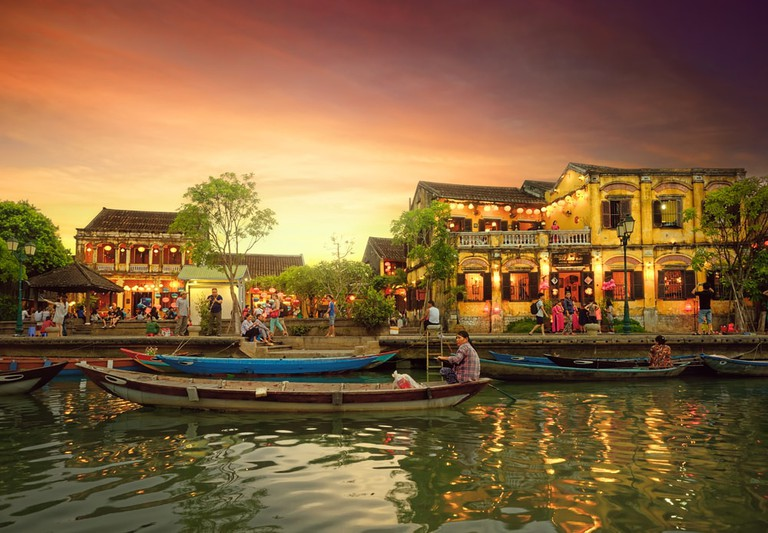 Traditional Boats in the ancient town of Hoi An, Vietnam