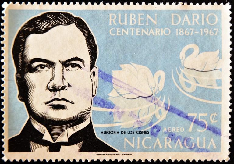 A stamp printed in Nicaragua shows the Nicaraguan poet Ruben Dario, circa 1967