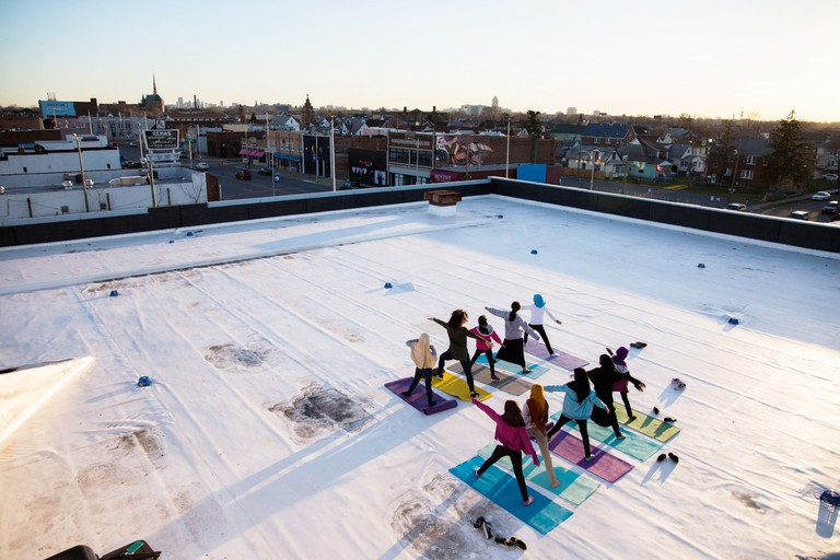 Yoga on the roof at our building