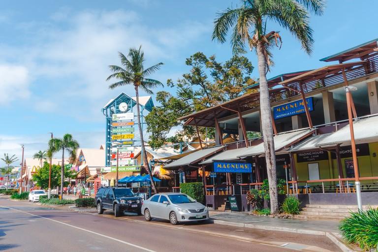 The main shopping street in Airlie Beach