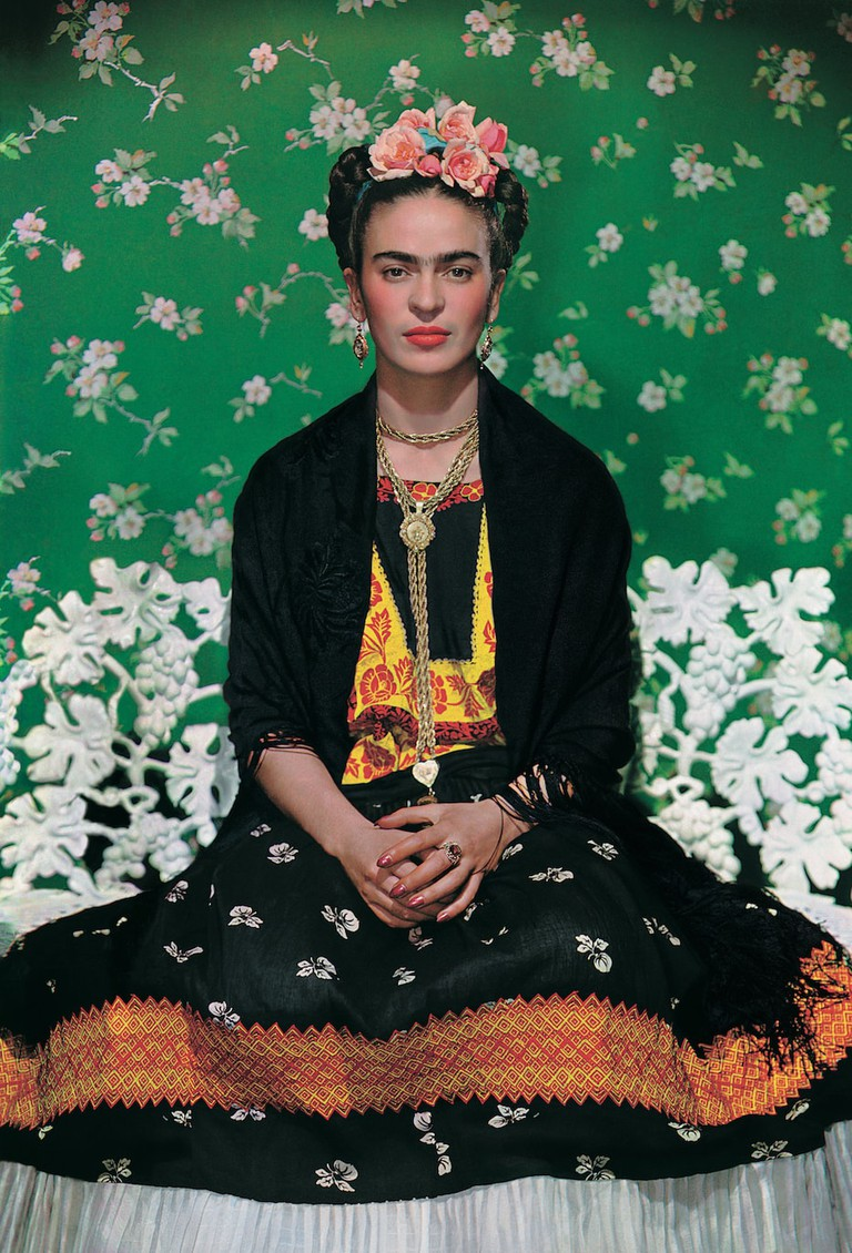Frida Kahlo on a bench, carbon print, 1938, photo by Nickolas Muray © The Jacques and Natasha Gelman Collection of 20th Century Mexican Art and The Verge,Nickolas Muray Photo Archives copy