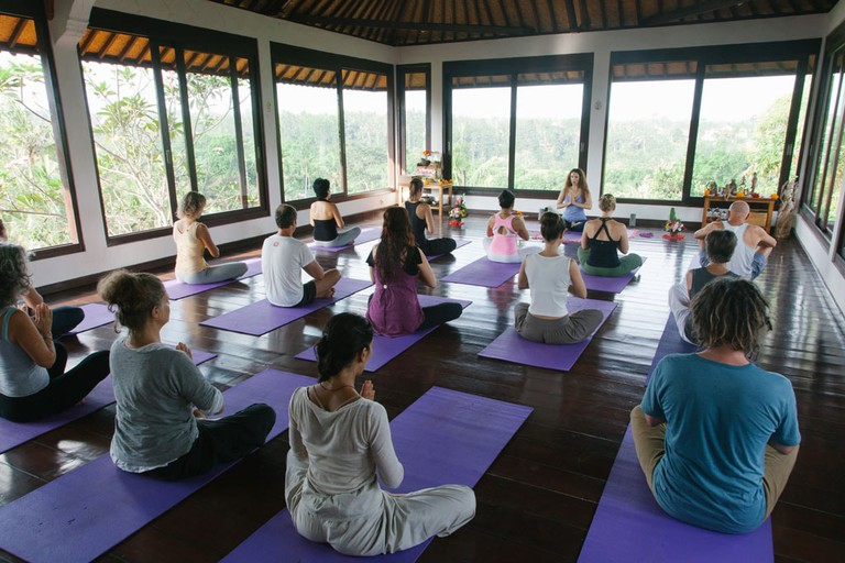 Yoga class and beautiful tropical view at Intuitive Flow, Ubud, Bali