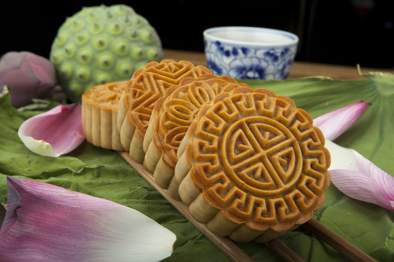 Vietnamese mung bean paste cakes, also known as Moon cake.
