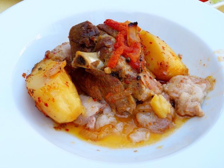 Plate of kleftiko with juicy lamb, in Cyprus
