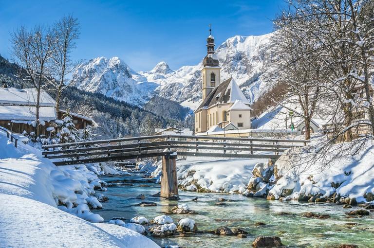 Parish Church of St. Sebastian in the village of Ramsau, Nationalpark Berchtesgadener Land, Upper Bavaria, Germany