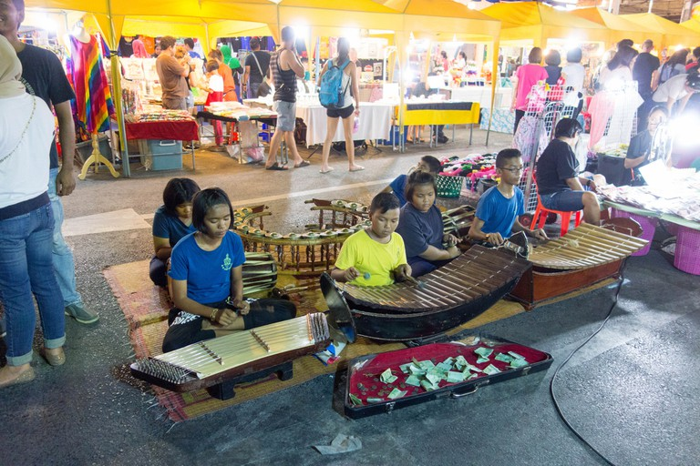 Young musicians at Krabi Night Market