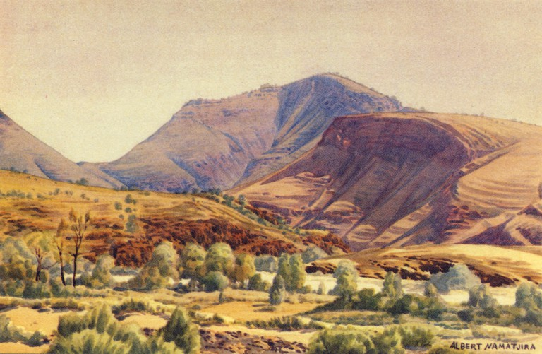 Painting of Mt Hermannsburg by Albert Namatjira © Aussie Mobs : Flickr