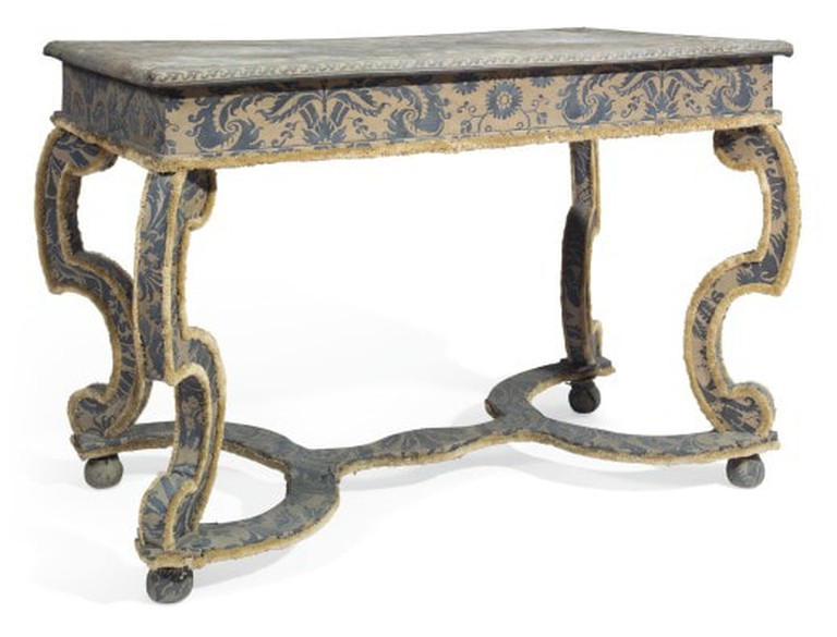 TOM BRITT_A WILLIAM AND MARY STYLE SIDE TABLE COVERED IN FORTUNY FABRIC