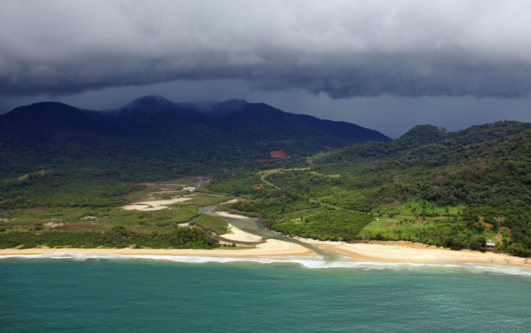 Beach, river and mountains on the Freetown peninsula, Sierra Leone