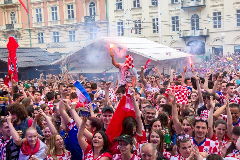 Croatian football fans on the Ban Jelacic Square