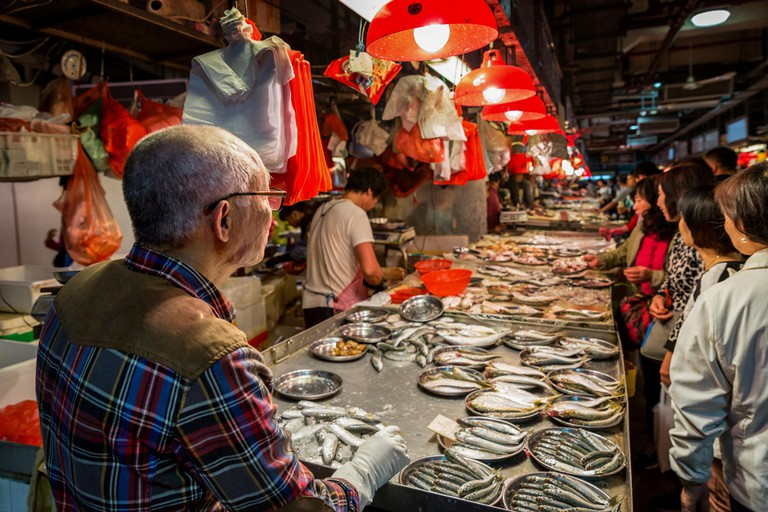 Fresh fish for sale at Red Market, Macau