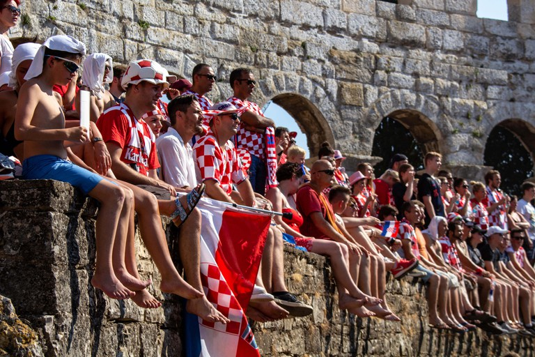 Croatian fans watching the Football World Cup