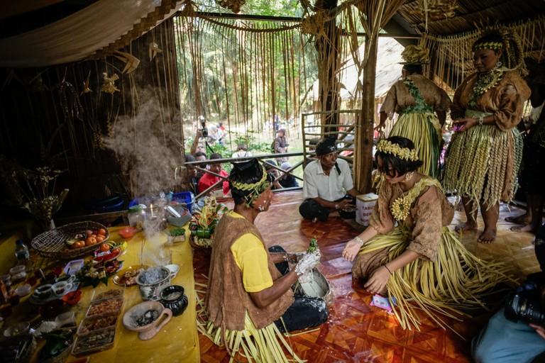 Mah Meri tribe chants special prayers during Ari Moyang, Malaysia.