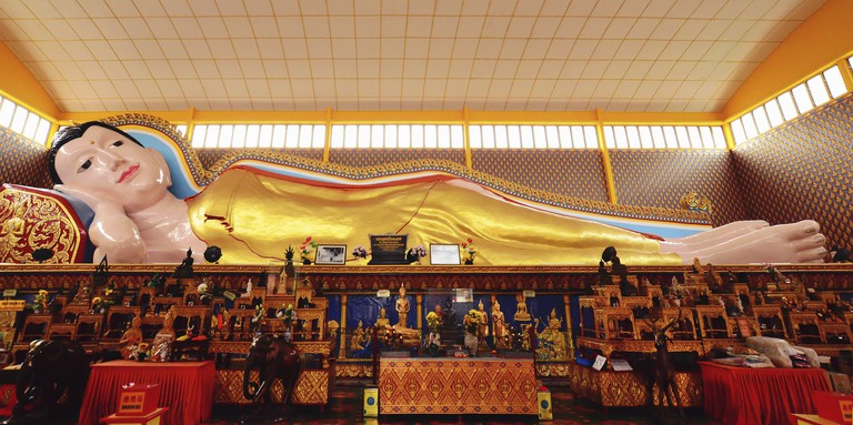 Buddha statues which is located in Wat Chaiyamangalaram, Thai Buddhist Temple in Penang, Malaysia.