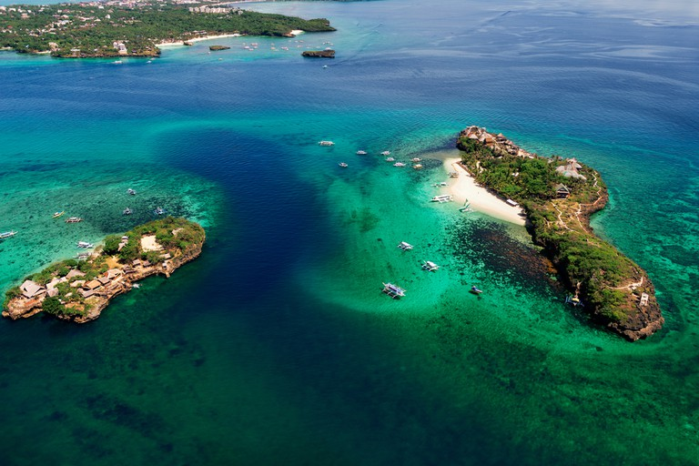 Aerial view of tropical Islands Magic and Crocodile. Boracay, Philippines.