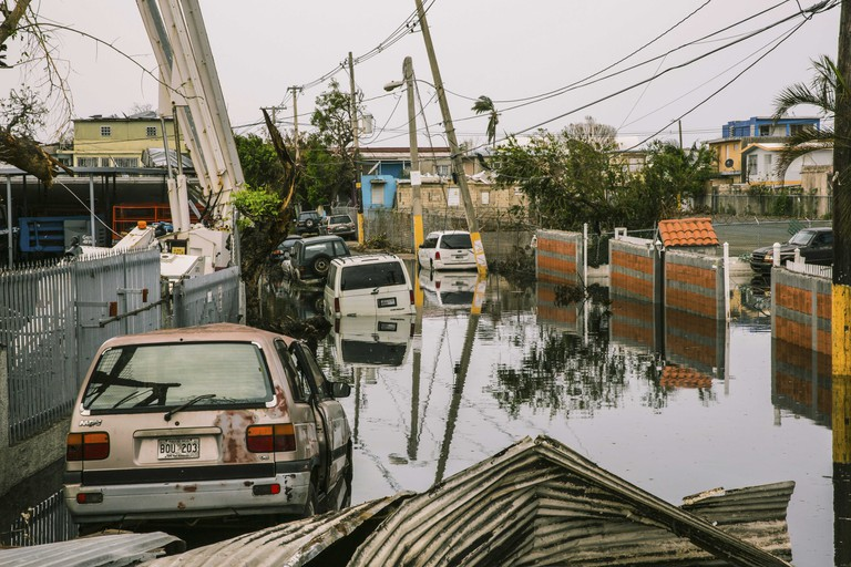 Flooded streets in the Ocean Park sector of San Juan, Puerto Rico weeks after Hurricane María.