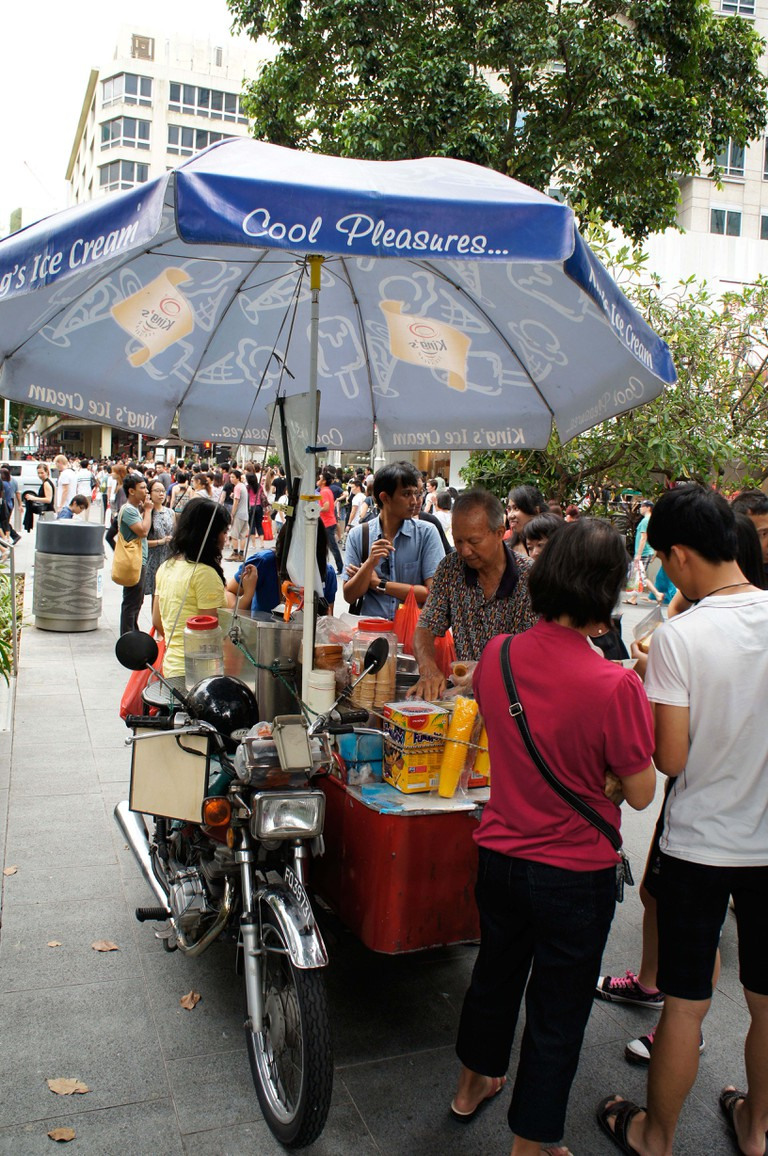 ice cream seller on a hot day at Orchard Road, Singapore