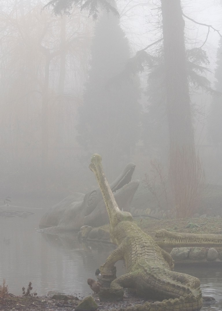 Dinosaurs in the mist in Crystal Palace Park