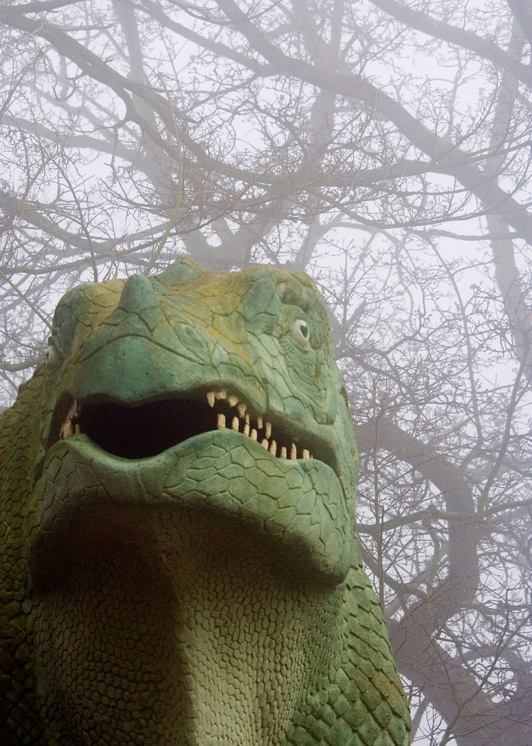 Dinosaur in the mist in Crystal Palace Park