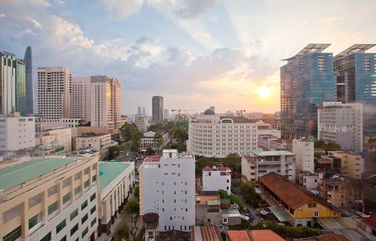 View of Ho Chi Minh City, Vietnam at sunset