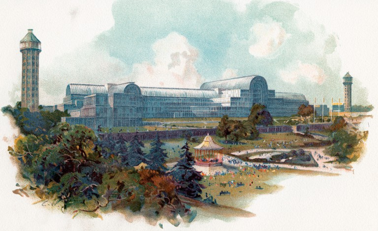 The relocated and enlarged Crystal Palace, Sydenham, London, England. It stood there from 1854 until its destruction by fire in 1936. The building was originally constructed in Hyde Park to house the Great Exhibition of 1851.