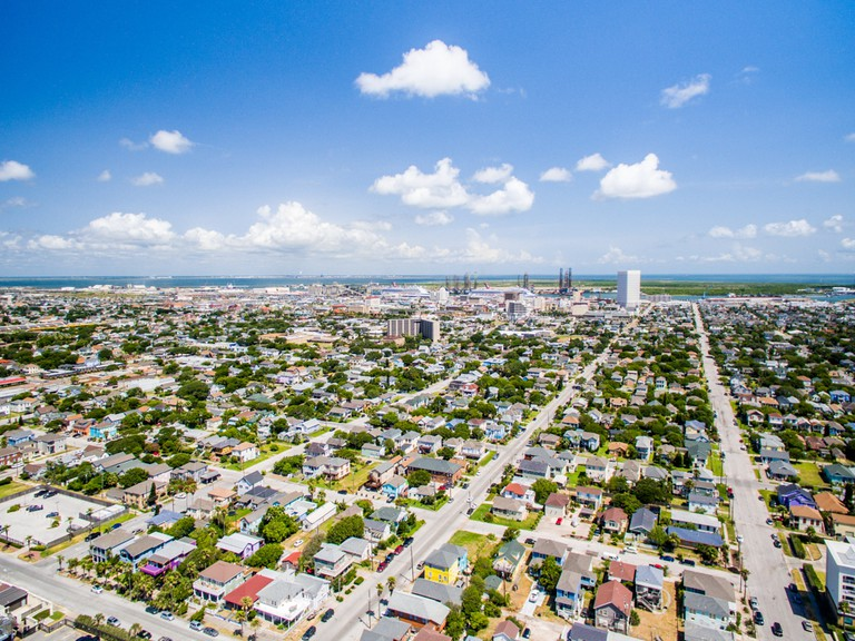 Looking over Galveston Texas from above