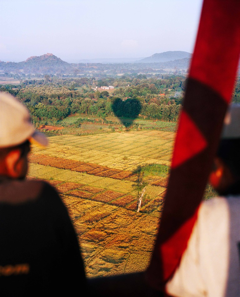SRI LANKA, Asia, Dambulla, view of field from hot air balloon