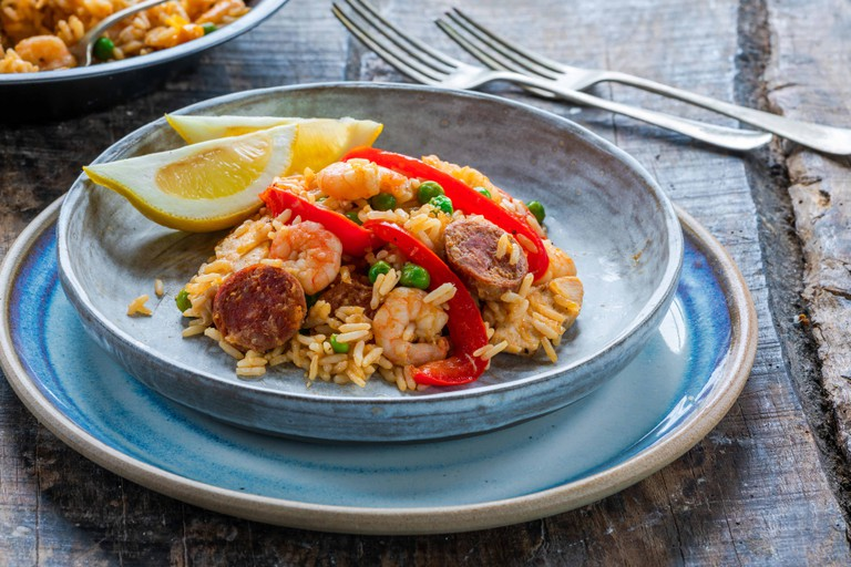 Spanish paella with prawns, chicken, chorizo and red pepper