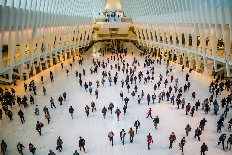 USA, New York City, Lower Manhattan, Oculus, World Trade Center PATH train station, designed by Santiago Calatrava