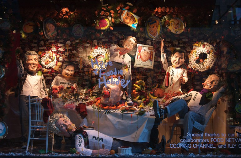 Celebrity chef themed Christmas window display at Barney's on Madison Ave, New York, America - 07 Dec 2010