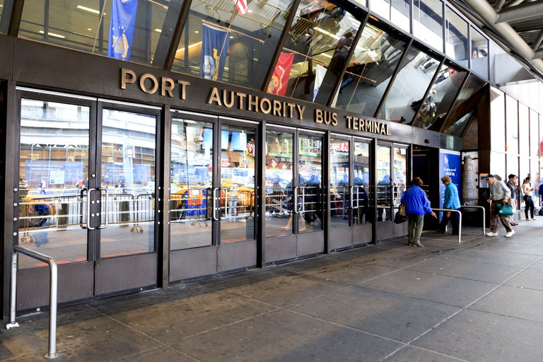 Port Authority Bus Terminal: Facade of Port Authority Bus Terminal: The Port Authority Bus Terminal is the main gateway for interstate buses into Manhattan.