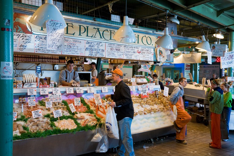 A range of food vendors sell their produce at Pike Place Market