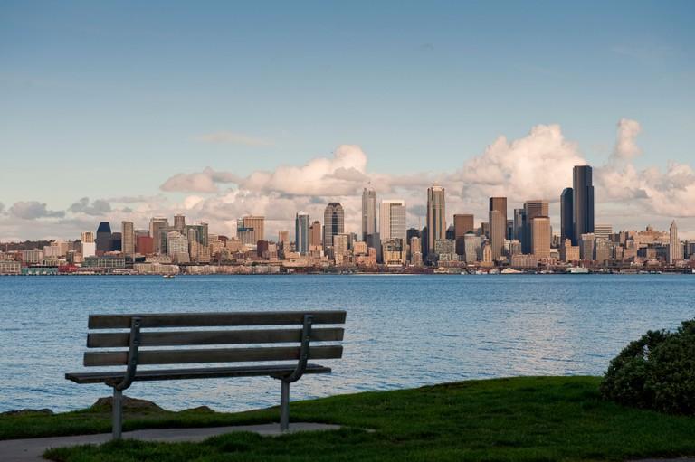 A park bench on Alki Beach in West Seattle.