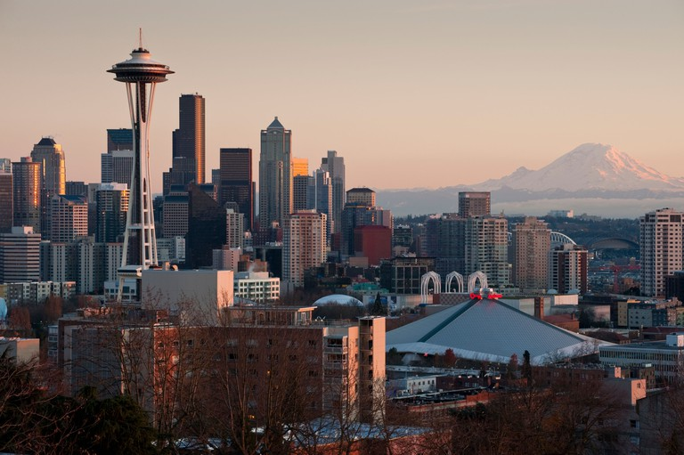 The Space Needle and the Seattle skyline taken from Kerry Park on Queen Anne Hill.